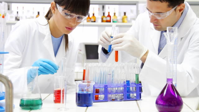 Researchers  working in laboratory,