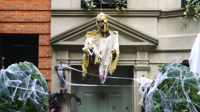 Residence is decorated by Halloween decoration at Upper East Manhattan New York on Oct 29 2016 Monster is decorated to building exterior which are...