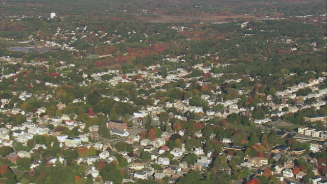 AERIAL Residential and commercial areas in small city / Lowell, Massachusetts, United States