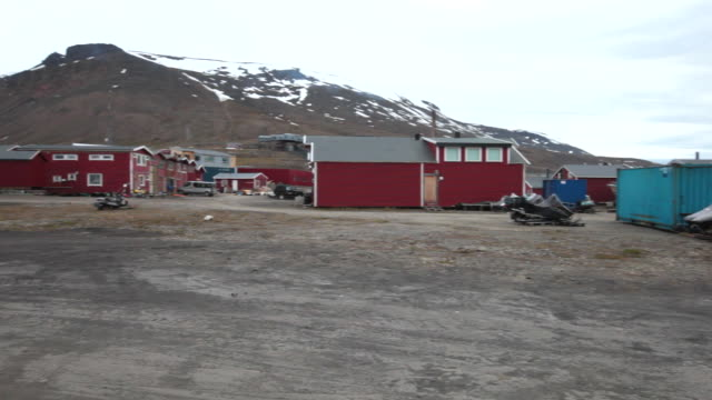 A residential and industrial area in Longyearbyen, Svalbard (panorama view)