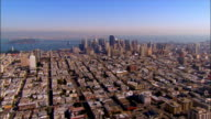 AERIAL, Residential area and Downtown district, San Francisco, California, USA