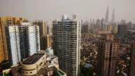 Residential area, apartment towers, residential houses, skyline, Shanghai World Financial Center, Shanghai, China