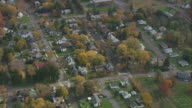 AERIAL Residential area of Cedar Grove on Spring Street / Catskill, New York, United States