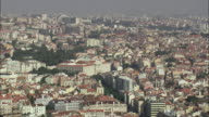 AERIAL WS Residential district cityscape / Lisbon, Portugal