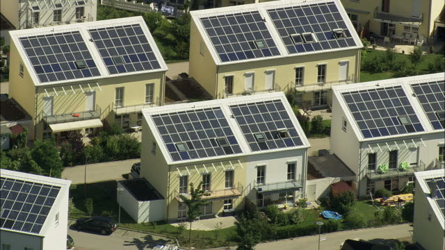 HA Residential housing complex with solar panels on roofs, Munich, Bavaria