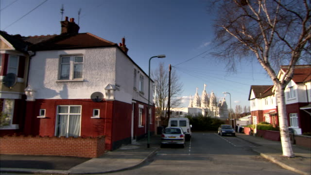 Residential streets near the Neasden Temple in London. Available in HD.
