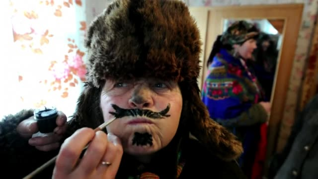 Residents celebrate Koliady festival in the streets of the Belarus village of Rechev CLEAN Residents celebrate the Koliady on January 09 2013 in...