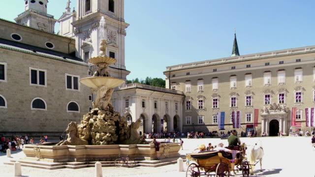 Residenzplatz in Salzburg and the Residenzbrunnen Fountain