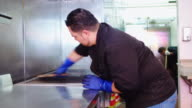 Restaurant Workers Cleaning Kitchen