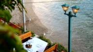 Restaurant's table on the beach