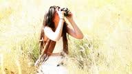 Retro camera girl, summer snapper.