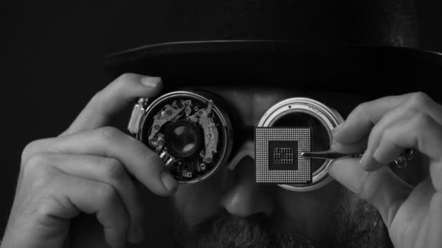 Retro Futuristic Portrait Of Man Using Smart Glasses