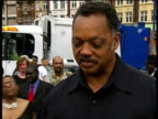 Rev Jesse Jackson visits South London ENGLAND London Brixton EXT Reporter to camera Reverend Jesse Jackson interview SOT here with Operation Black...