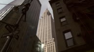Reveal of the Chrysler building surrounded by skyscrapers.