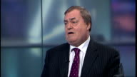 MP reveals name of footballer at centre of super injunction speculation ENGLAND London GIR INT Lord Prescott STUDIO interview SOT