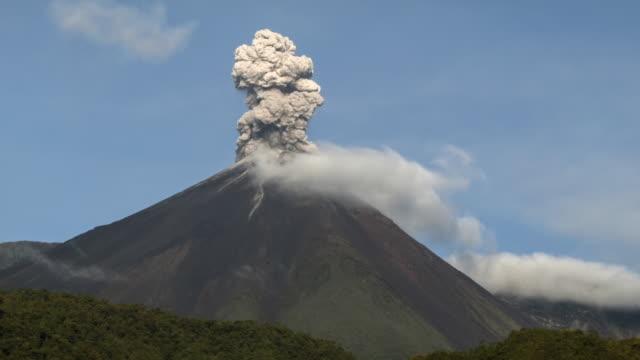 Reventador Volcano, Ecuador erupting
