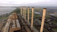 A reverse aerial shot of the towers at the Hazelwood Power Station in the Latrobe Valley, Victoria.