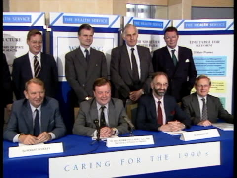 Businessmen recruited **** For Rushes See CR309 ENGLAND MS Health Secretary Kenneth Clarke seated London at pkf next Sir Robert Scholey as others...
