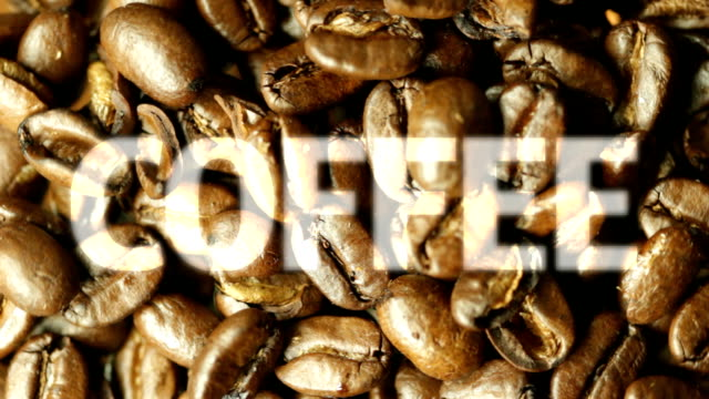 Revolving Coffee beans with text. HD