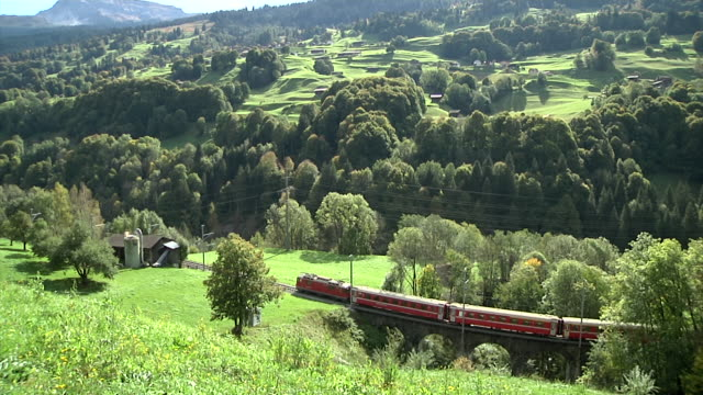 Rhaetian Railway train pulled by a Ge 4/4 II between Landquart and Davos.