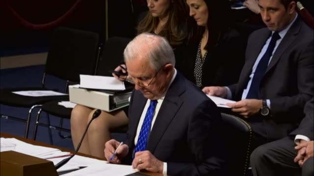 Rhode Island Senator Sheldon Whitehouse questions former colleague Attorney General Jeff Sessions at an oversight hearing by the Senate Judiciary...