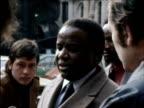 Rhodesian Nationalist leader Ndabaningi Sithole speaks to press about 'majority rule' in Rhodesia 1970s