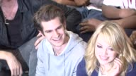Rhys Ifans Andrew Garfield Emma Stone at 'Be Amazing' Stand Up Volunteer Initiative Brooklyn at Madison Boys And Girls Club on June 26 2012 in New...