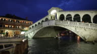 WS Rialto Bridge over Grand Canal at night / Venice, Italy
