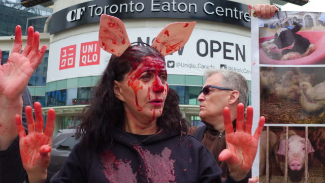 A ribfest sometimes called a rib cookoff is a traditional food festival Some protesters have a blood like product on their faces for greater visual...