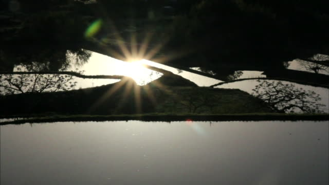 Rice paddies reflect the sunbeams of the morning sun on the Sakaori Rice Terraces in Japan.