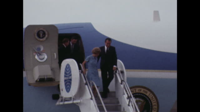 Richard and Pat Nixon are greeted by King Bhumibol and Queen Srinagarindra as they arrive in Thailand for an official visit