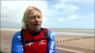 Richard Branson English Channel kitesurf attempt ENGLAND Kent Dymchurch EXT Sir Richard Branson interview SOT discusses attempt to cross English...