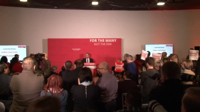 Richard Leonard is announced as the new leader of Scottish Labour The announcement is made by Brian Roy General Secretary of Scottish Labour