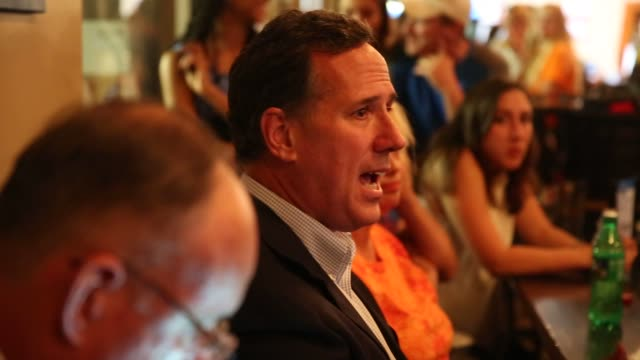 Rick Santorum former senator from Pennsylvania and 2016 Republican presidential candidate during a campaign stop at Confluence Brewery in Des Moines...