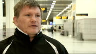Ricky Hatton interview on upcoming Mayweather and Pacquiao fight ENGLAND Manchester Manchester Airport INT Ricky Hatton interview SOT Ricky Hatton...