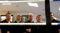 Cheshire Hyde Hatton House INT Ricky Hatton in photocall in boxing ring with members of his new gym Fans in gym looking at Hatton and members in ring...