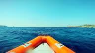 Riding inflatable boat rib