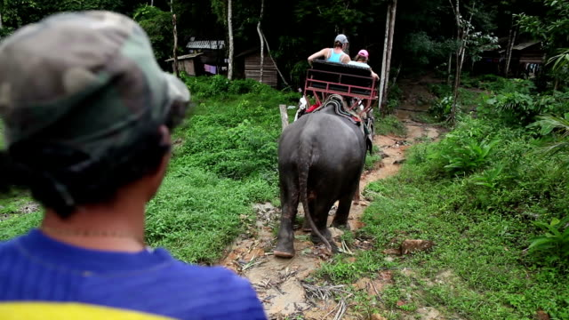Riding on elephants in Thailand.