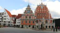 Riga, view of the house of the Blackheads, in the town hall square.