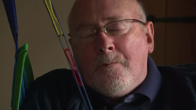 New challenge to assisted dying ban ENGLAND INT Noel Conway interview SOT Various shots of Noel Conway being helped by his wife Carol Various shtos...