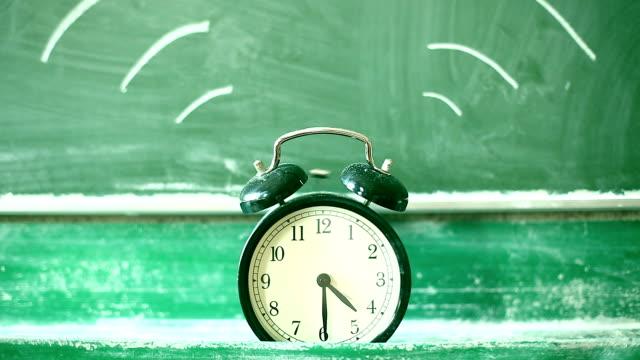 Ringing alarm clock, green blackboard
