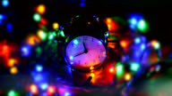 Ringing Alarm Clock With Christmas Lights, New Year 2016