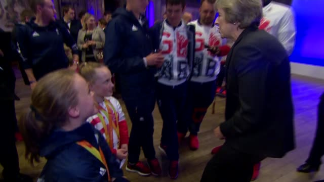 Rio 2016 Manchester victory parade for Team GB Theresa May meets athletes ENGLAND Manchester INT Prime Minister Theresa May MP talking to Olympic and...