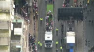 Air views of Manchester victory parade for Team GB ENGLAND Manchester Victory parade for Team GB Olympic and Paralympic athletes with athletes riding...