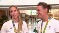 London Heathrow Airport INT Heather Stanning and Helen Glover interview SOT / Mohamed Sbihi Alex Gregory Constantine Louloudis George Nash interview...