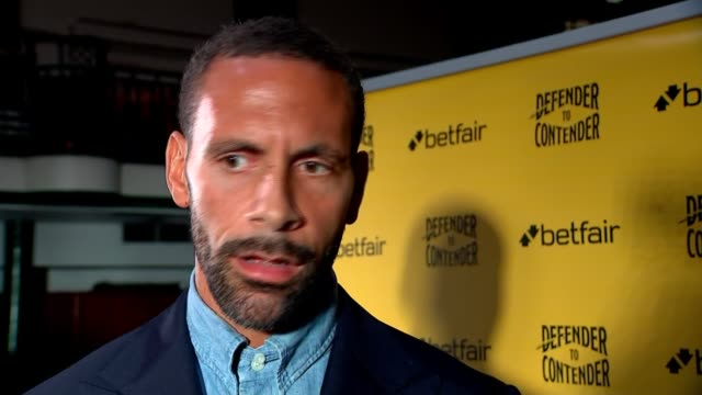 London INT Rio Ferdinand interview SOT re 'Defender to Contender' / switching sports