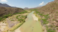 MS AERIAL LA Rio Grande River and canyon in Chihuahuan Desert in Big Bend State Ranch Park / Texas, United States