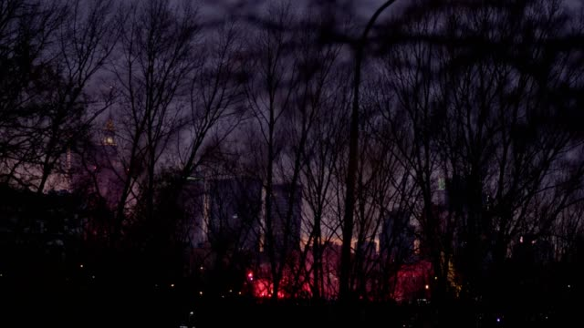 Riot in a big city. Night panorama with red smoke