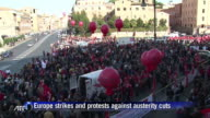 Riot police and antiausterity protesters clashed in Spain and Italy on Wednesday as anger boiled over on a day of Europewide strikes and mass...