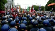 Riot police blocks hundreds of protesters trying to prevent the family of late dictator Ferdinand Marcos from celebrating the 100th anniversary of...